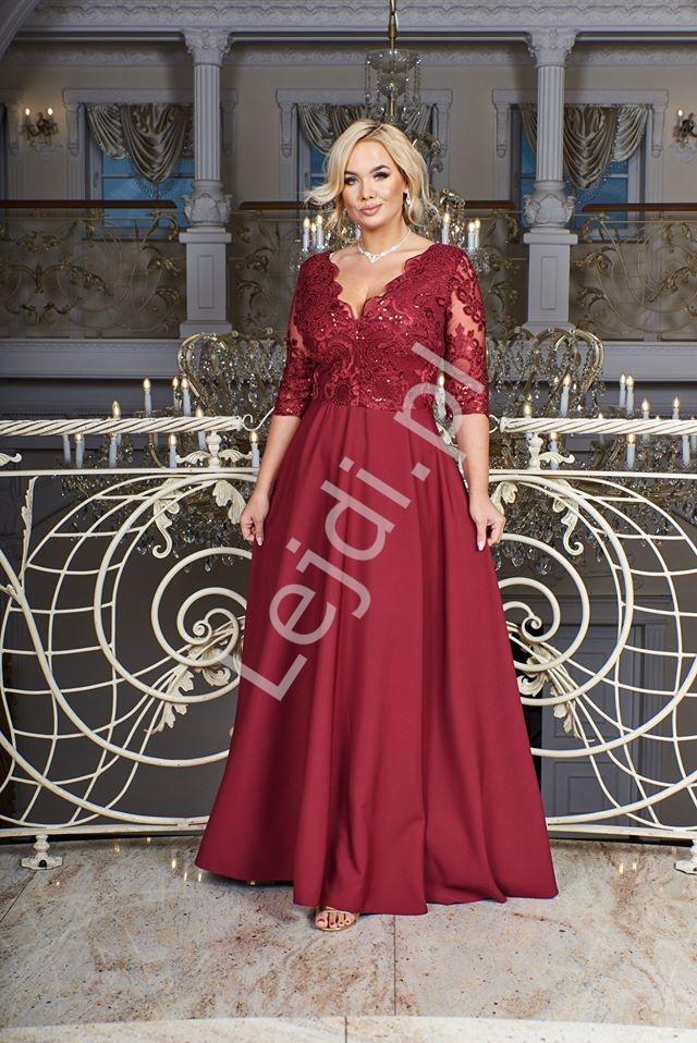 Bordowa sukienka plus size z koronkową górą z cekinami - Crystal 3/4 - Lejdi