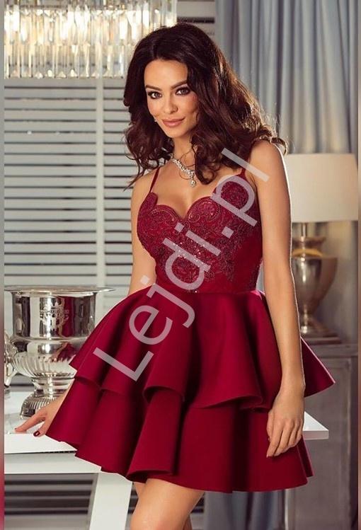 Bordowa sukienka z piankową spódnicą - Leila - Lejdi