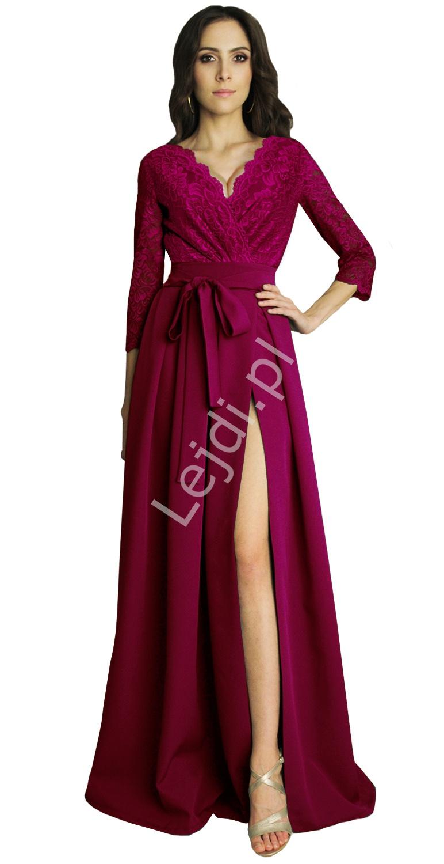 Bordowa suknia wieczorowa z koronkowym rękawem 3/4, m386 - Lejdi