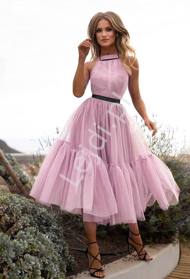 Brudno różowa zniewalająca sukienka tiulowa Lara