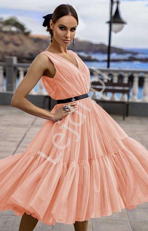 Brzoskwiniowa sukienka midi tiulowa, Paris - Lejdi