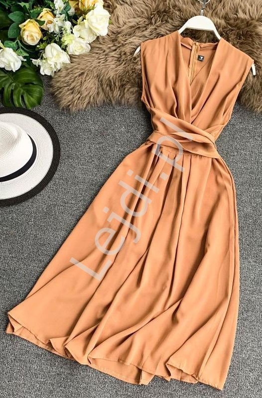 Brzoskwiniowa sukienka na wesele, poprawiny, komunie 0961 - Lejdi