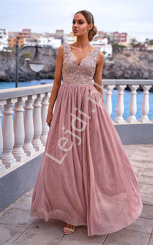 Brzoskwiniowa sukienka tiulowa z koronką, Chiara EMO - Lejdi