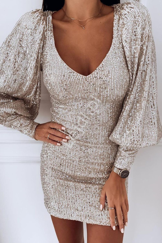 Brzoskwiniowo metaliczna sukienka cekinowa na sylwestra, wesele 127 - Lejdi
