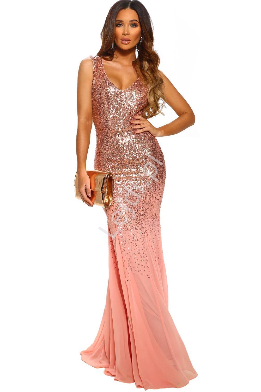 Brzoskwiniowo złota sukienka cekinowa na sylwestra, wesele 383 - Lejdi