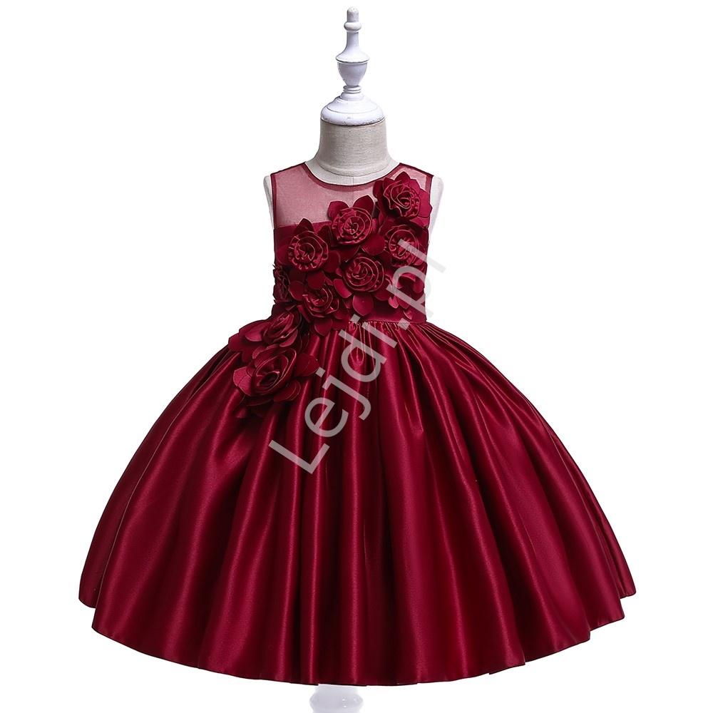 Burgundowa suknia na wesele dla dziewczynki 068 - Lejdi