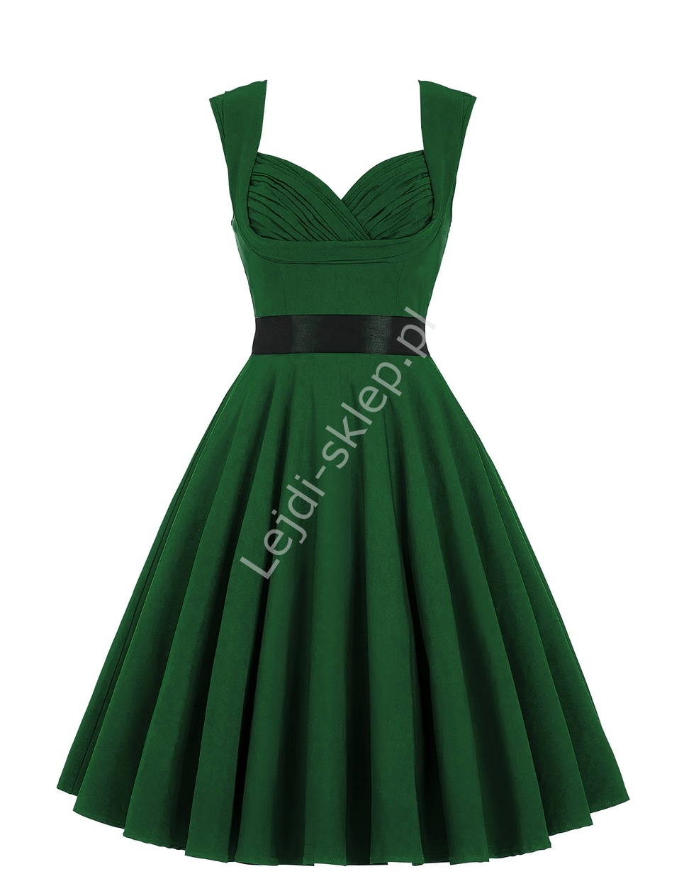 butelkowo zielona bawe niana sukienka pin up green swingdress. Black Bedroom Furniture Sets. Home Design Ideas