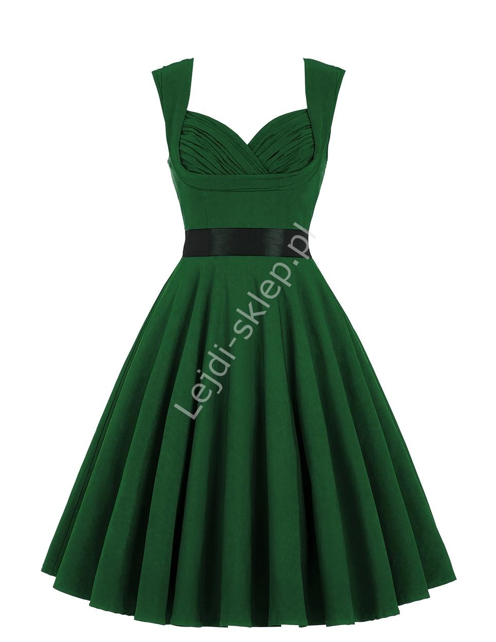 Butelkowo zielona bawełniana sukienka pin-up , green swingdress - Lejdi