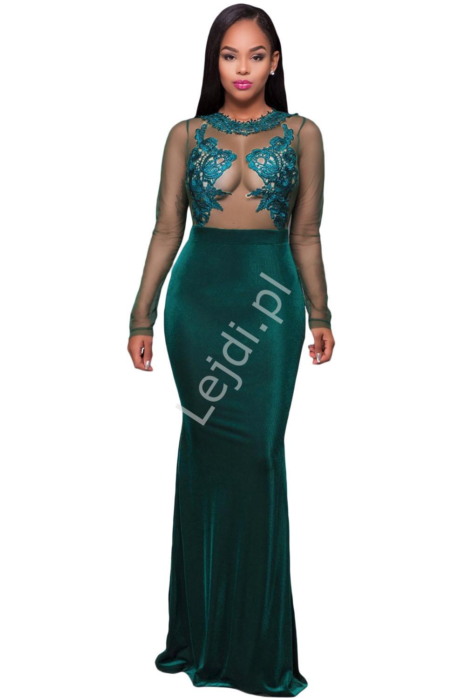 Butelkowo zielona długa suknia z siatką z gipiurową koronką | zielone suknie wieczorowe 358 - Lejdi
