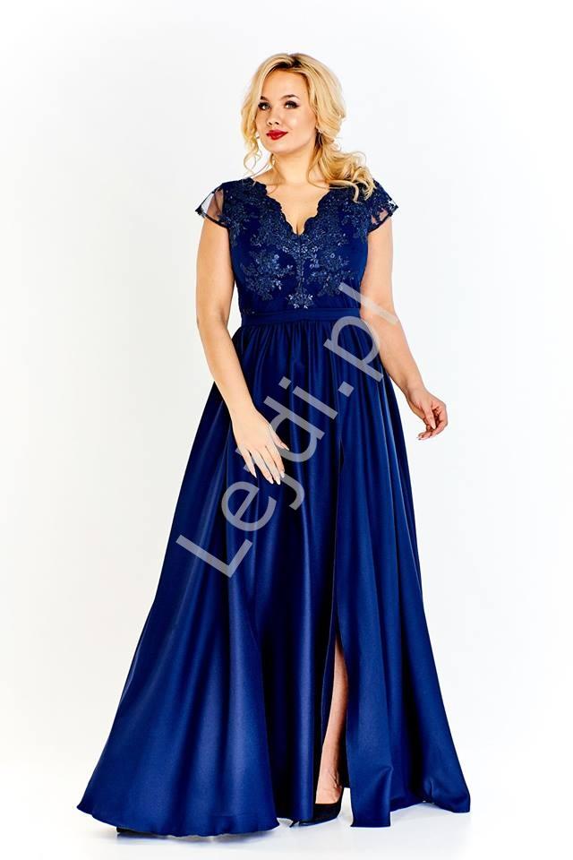 5c41dcb362 Butelkowo zielona długa suknia wieczorowa Chantell - duże rozmiary w modnym  fasonie
