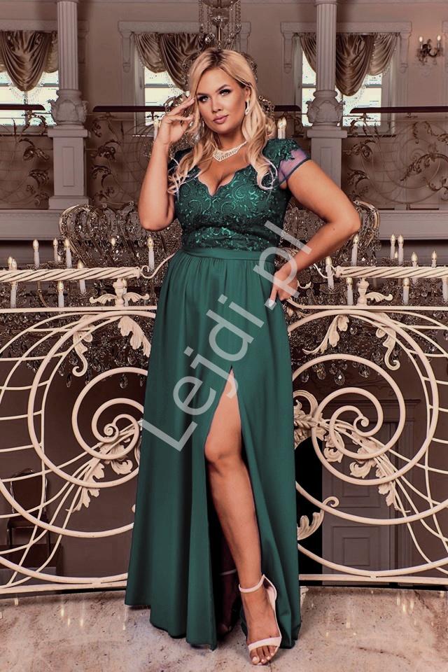Butelkowo zielona długa suknia wieczorowa Chantell - duże rozmiary w modnym fasonie - Lejdi