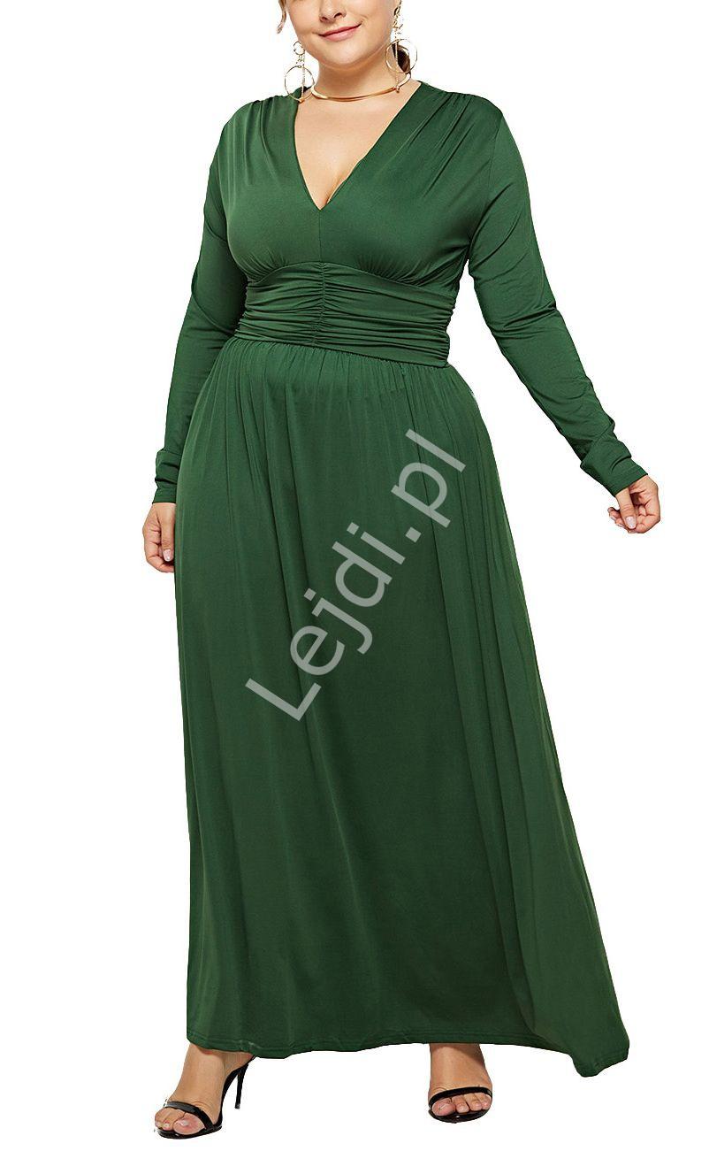 Butelkowo zielona elastyczna sukienka z drapowanym pasem 1091 - Lejdi