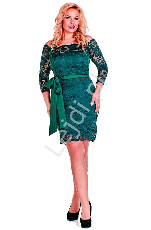Butelkowo zielona koronkowa sukienka plus size - Veronica - Lejdi