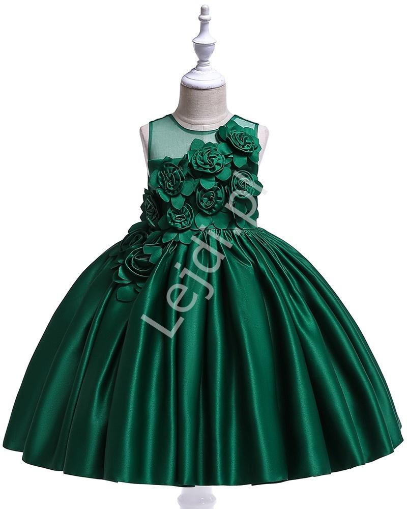 Butelkowo zielona sukienka dla dziewczynki z satynobawełny z kwiatami 3D 068 - Lejdi
