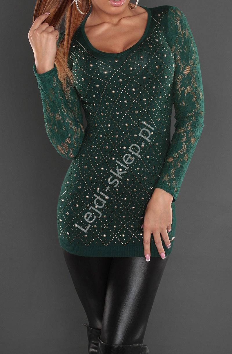 Butelkowo zielona tunika z koronkowymi rękawami | tuniki damskie 8059 - Lejdi
