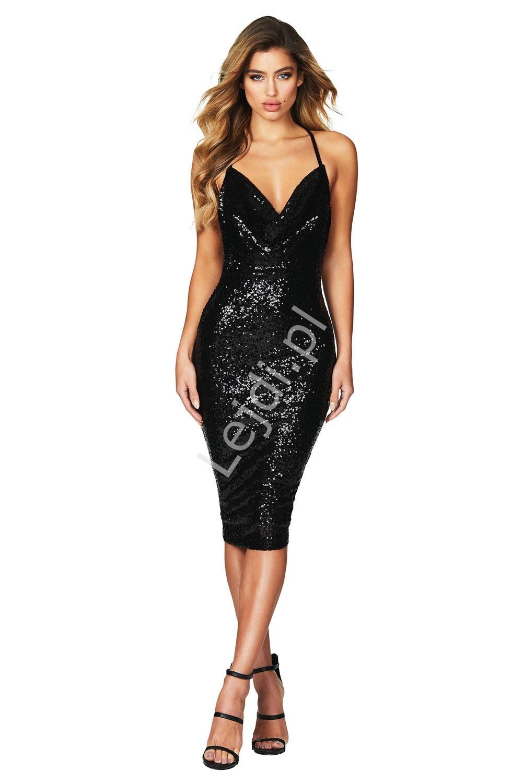 acbaba3a18 Cekinowa czarna sukienka midi 927 - Lejdi.pl