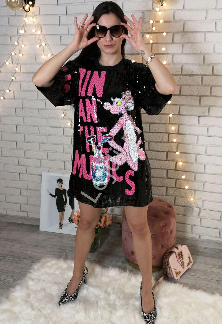 Cekinowa czarna tunika lub minisukienka z różową panterą - Lejdi