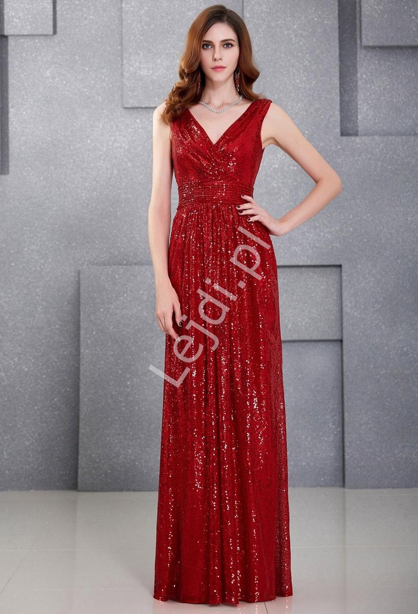 51dbefc73c8194 Cekinowa długa suknia wieczorowa z kopertowym dekoltem | suknie na sylwestra