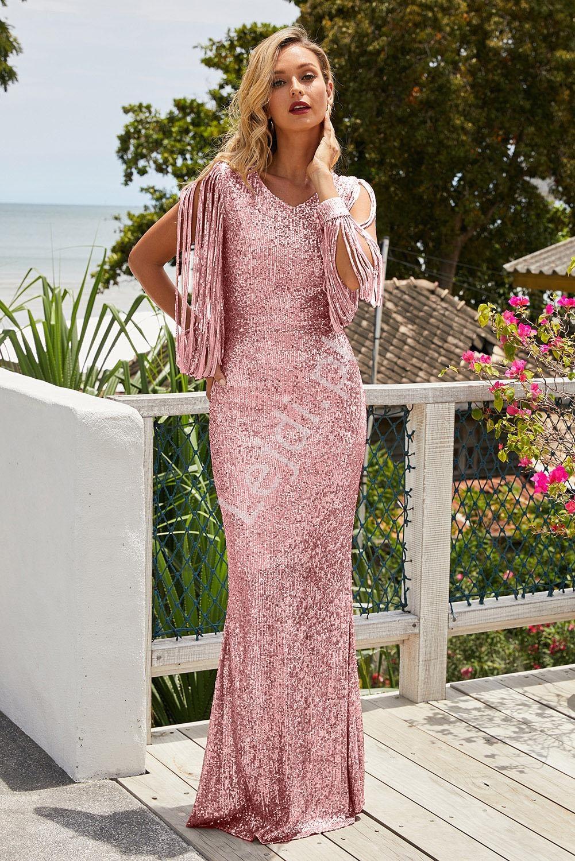 Cekinowa długa suknia wieczorowa z frędzelkami na ramionach, jasny róż 992 - Lejdi