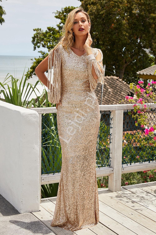 Cekinowa długa złota suknia 992 - Lejdi