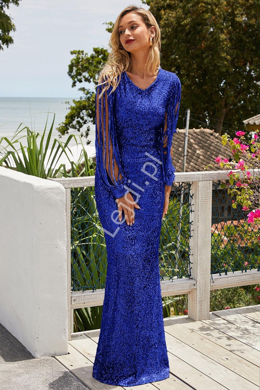 Cekinowa niebieska długa suknia wieczorowa 992 - Lejdi