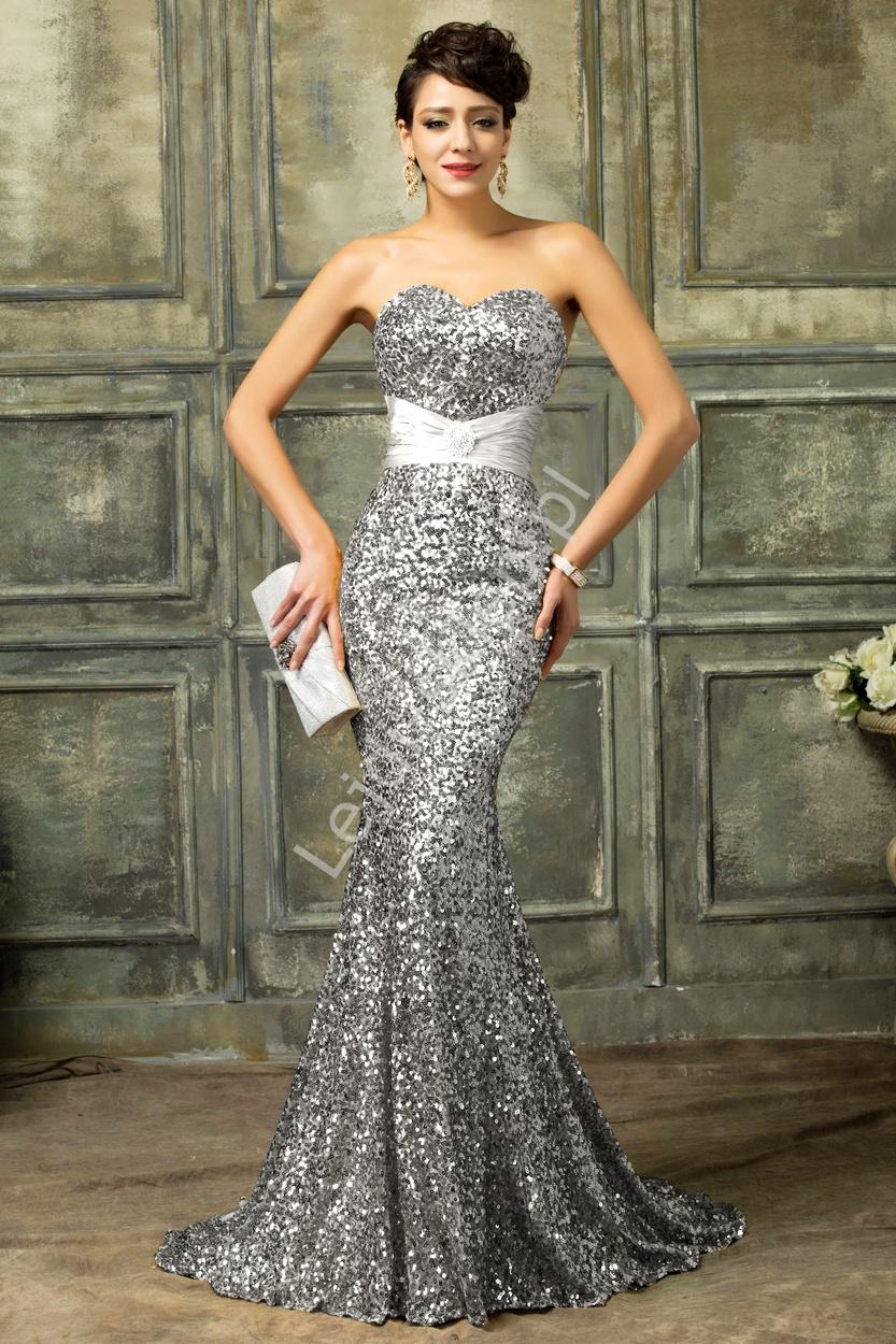 Cekinowa srebrna suknia wieczorowa | suknie karawałowe, estradowe - Lejdi