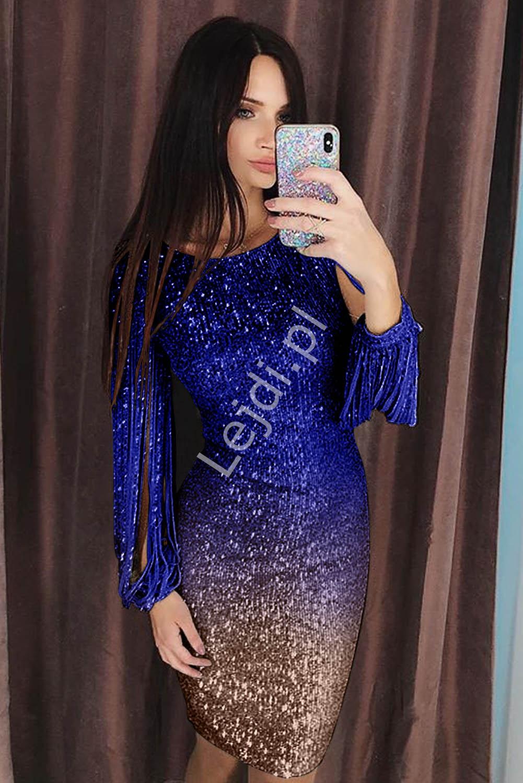 Cekinowa sukienka ombre złoty chaber 528 - Lejdi