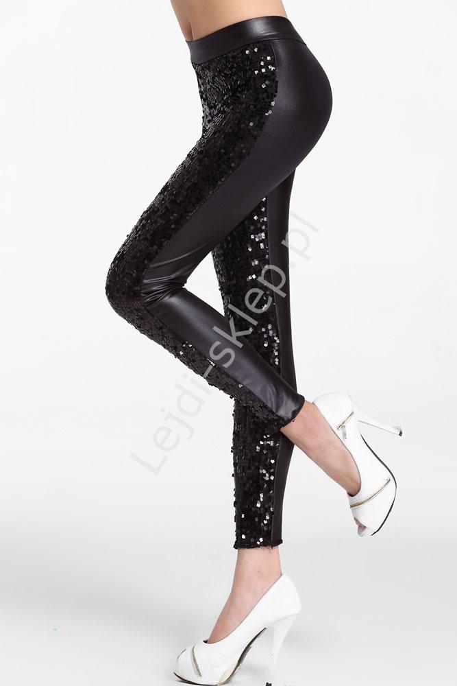 30407df8875f97 Cekinowe czarne legginsy | wieczorowe spodnie - Lejdi.pl
