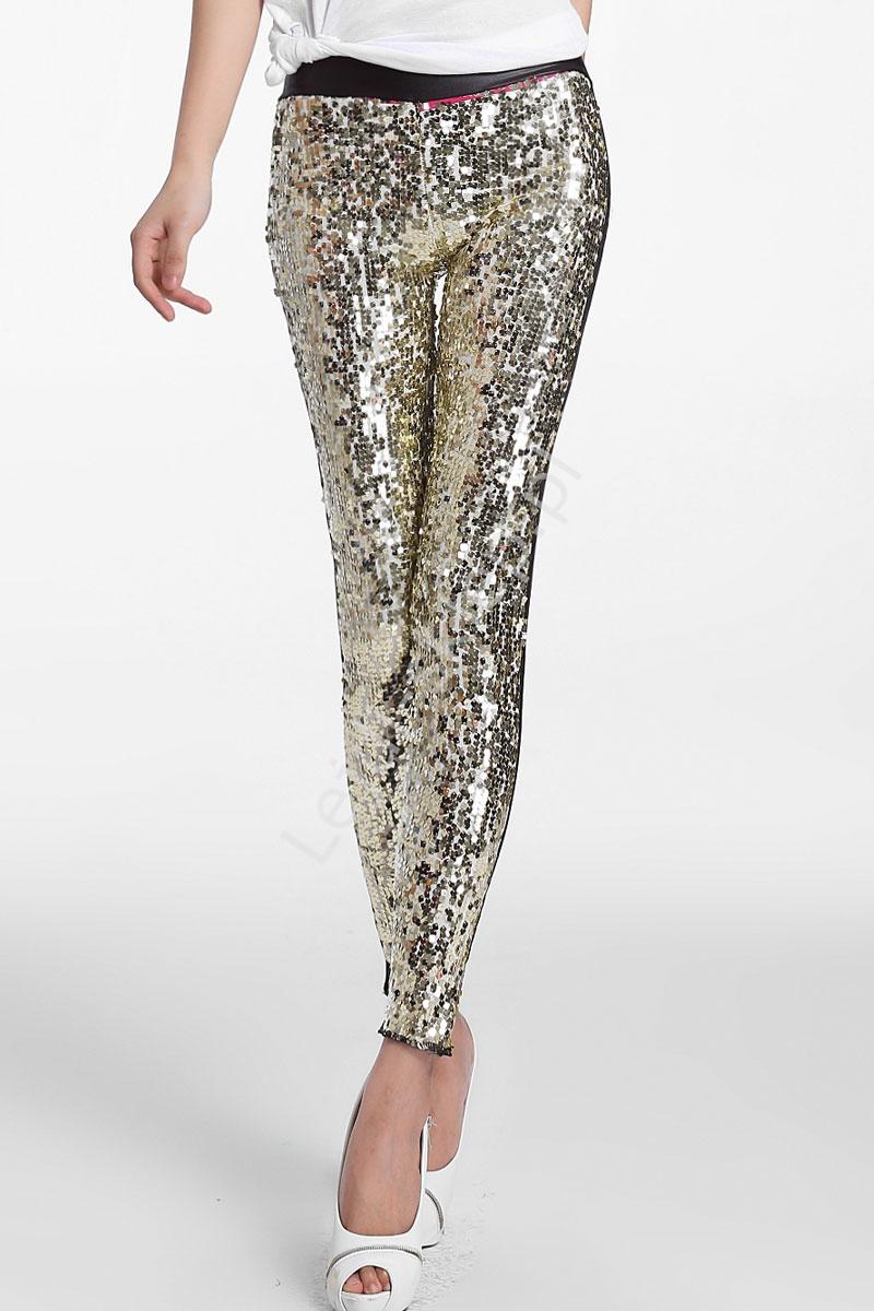 44636e5617be26 Cekinowe legginsy, złoto czarne | wieczorowe spodnie - Lejdi.pl