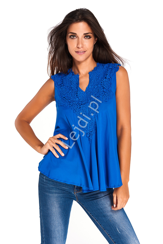 Chabrowa bluzka z gipiurową koronką przy dekolcie | chabrowe bluzki damskie 760 - Lejdi