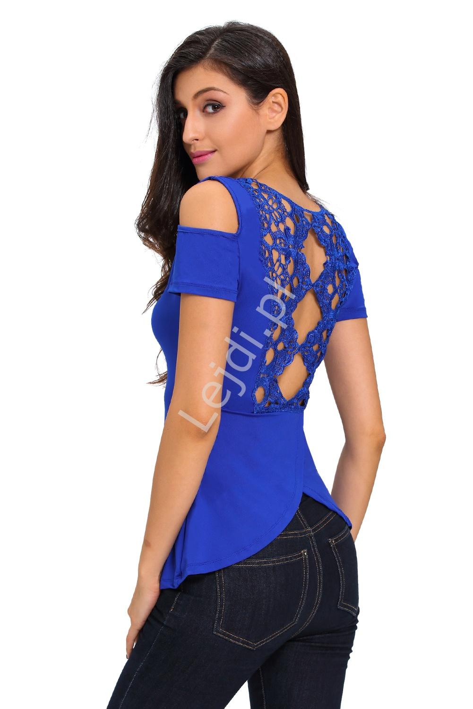 Chabrowa bluzka z koronką na plecach i odkrytymi ramionami 824 - Lejdi