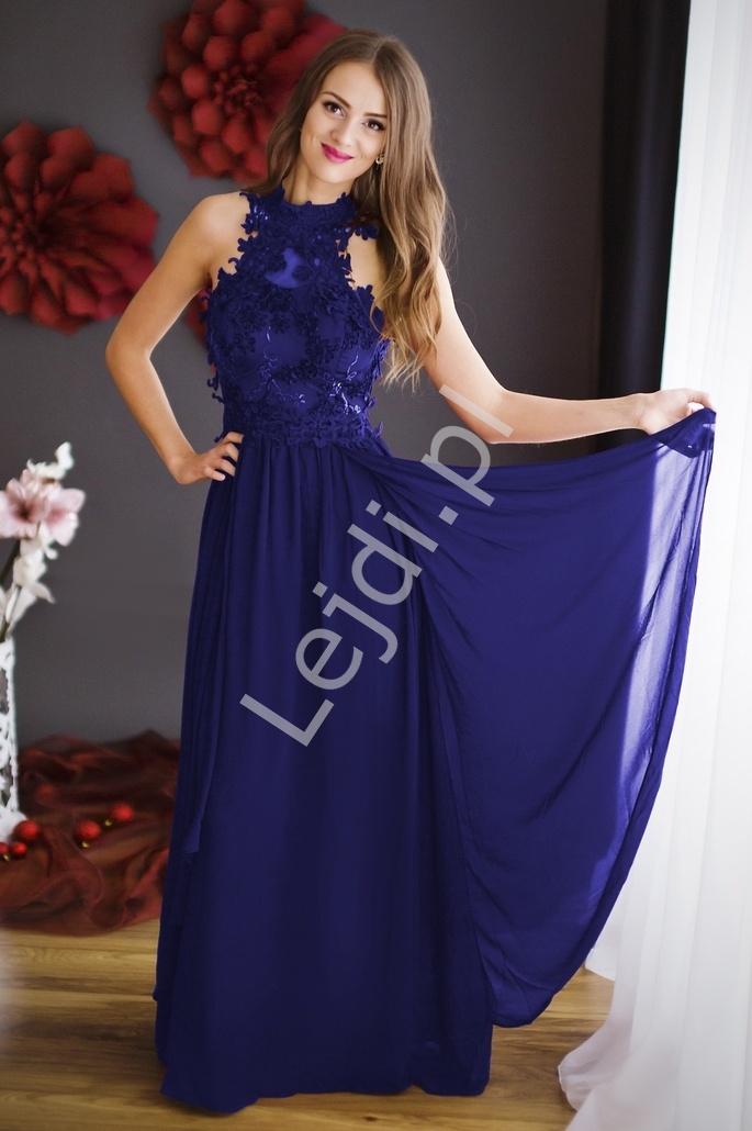 Chabrowa długa suknia wieczorowa z kwiatami 3D   Chabrowe długie sukienki wieczorowe - Lejdi