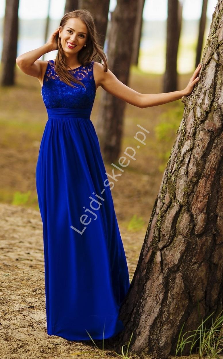 02ce6fe456 Chabrowa prosta suknia z gipiurową koronką - Lejdi.pl