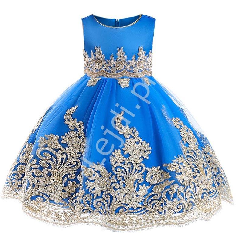 Chabrowa sukienka dla dziewczynki na wesele, urodziny, dziecięca ze złotym haftem - Lejdi
