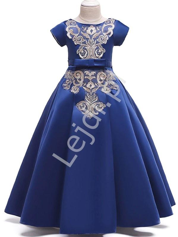 Chabrowa sukienka dla dziewczynki z złotym haftem 202 - Lejdi