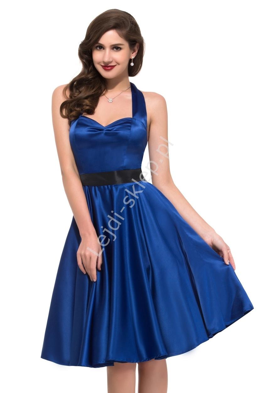 Chabrowa sukienka pin-up na szyję lata 60-te,70-te, 6046 - Lejdi