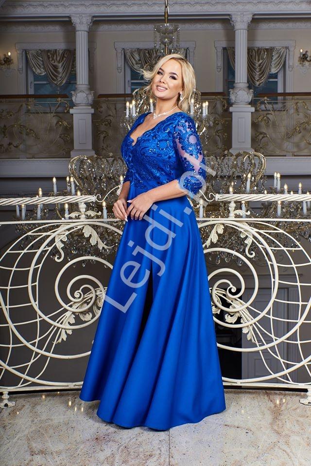 Chabrowa sukienka plus size z koronkową górą z cekinami - Crystal 3/4 - Lejdi