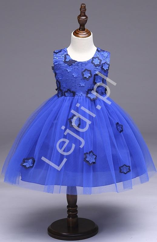 Chabrowa sukienka tiulowa ozdobiona kwiatami | sukienki dla dziewczynek - Lejdi