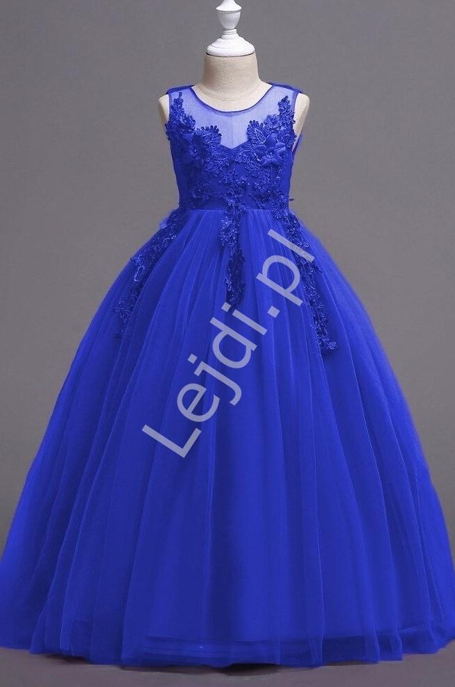 Chabrowa suknia dla dziewczynki z kwiatkami 3D 832 - Lejdi