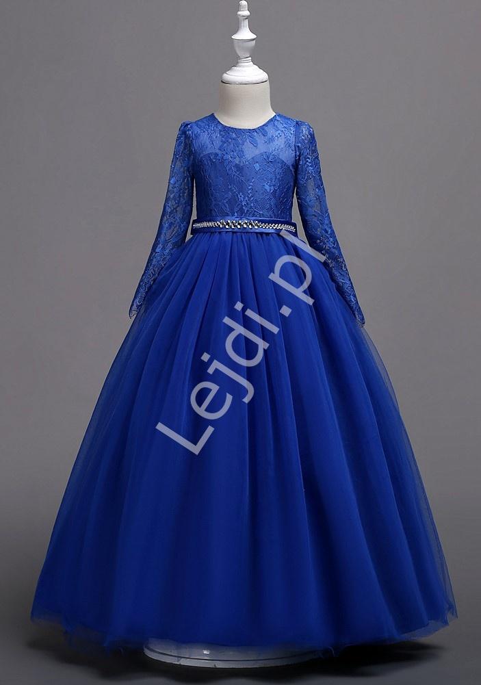 Chabrowa suknia dziecięca z długim koronkowym rękawem 023 - Lejdi