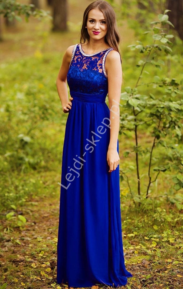 Chabrowa suknia z kryształkami i gipiurową koronką - Lejdi