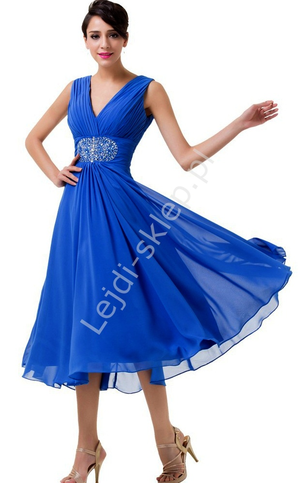 Chabrowa szyfonowa rozkloszowana sukienka 3/4 z kryształkami w pasie na wesele, dla mamy - Lejdi