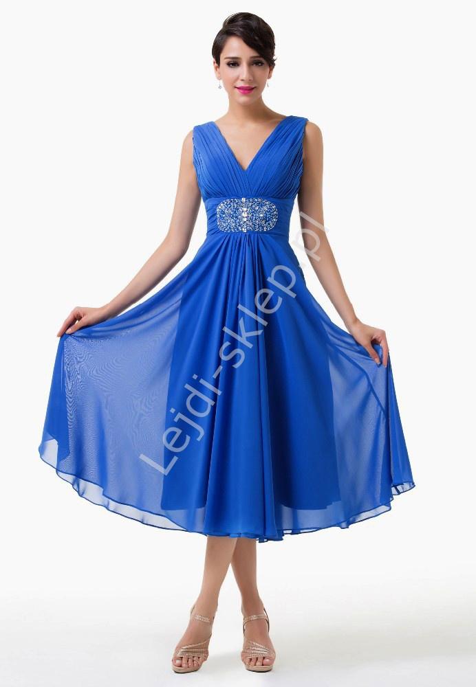 caab07ddb4 Chabrowa szyfonowa rozkloszowana sukienka 3 4 z kryształkami w pasie na  wesele