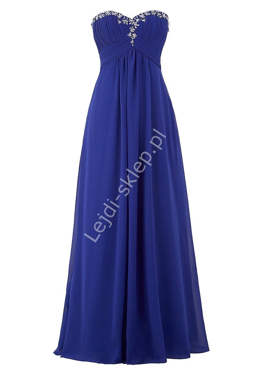 Chabrowa szyfonowa skromna suknia bez ramiączek | chabrowe sukienki, klasyczna suknia z kryształkami - Lejdi