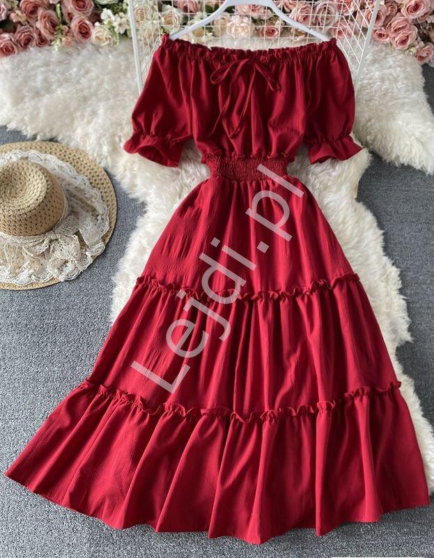 Ciemno czerwona sukienka letnia z falbanami hiszpanka 1148 - Lejdi