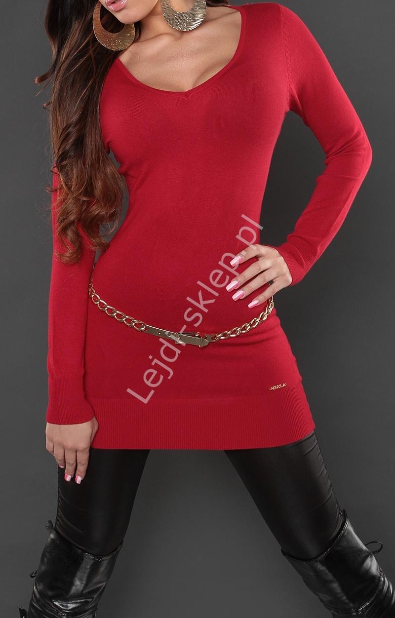 Ciemno czerwona tunika lub sukienka z taśmą gipiurową na plecach, 8084 - Lejdi