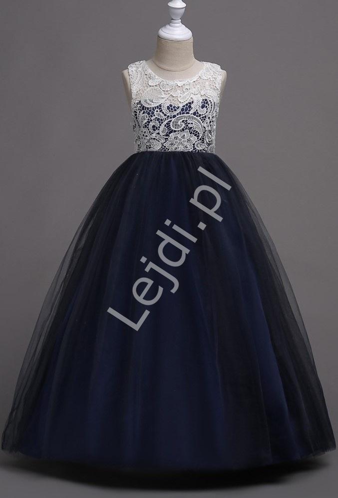 Ciemno granatowa długa suknia tiulowa dla dziewczynki z białą koronką na dekolcie 007 - Lejdi