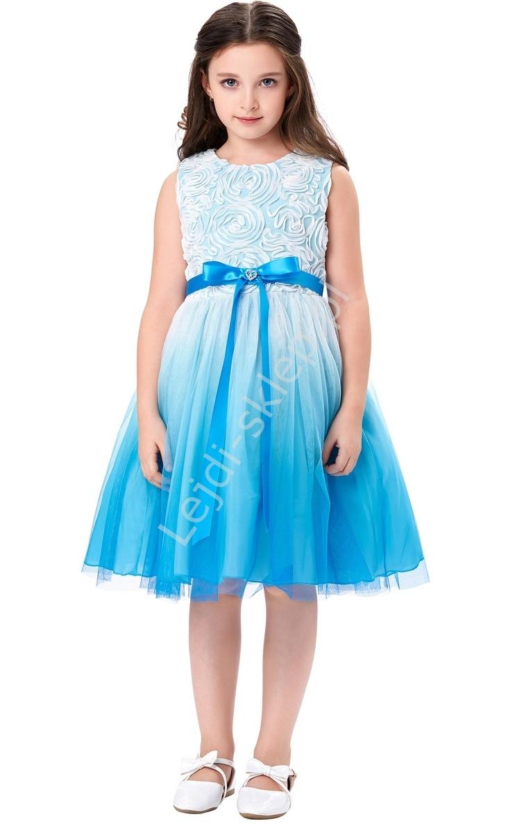 7fc717628e Cieniowana turkusowo biała sukienka w róże dla dziewczynki ...