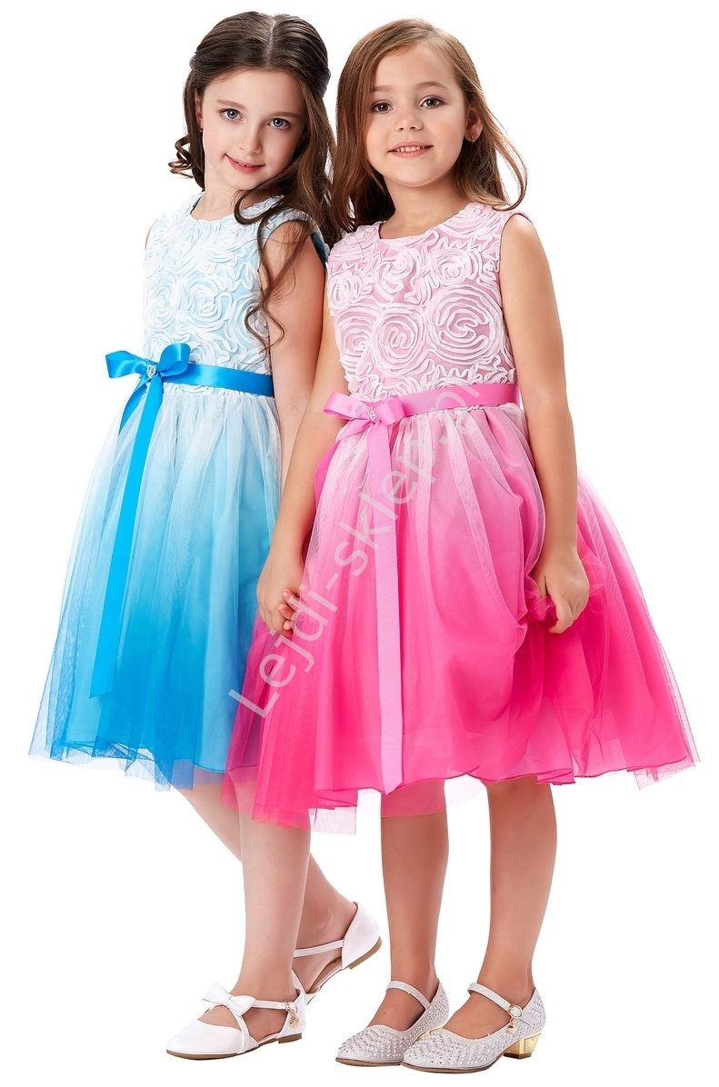 Cieniowana różowo biała sukienka w róże dla dziewczynki | dziecięce sukieneczki - Lejdi
