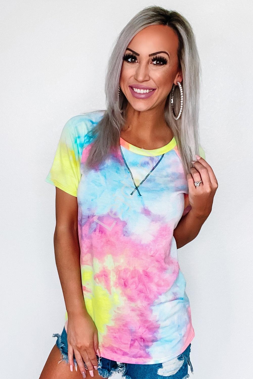 Cieniowany T-shirt tie-dye, koszulka damska - Lejdi
